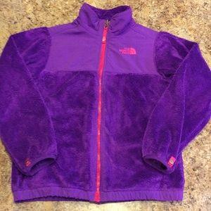 North Face girls purple/red trim fleece jacket. L